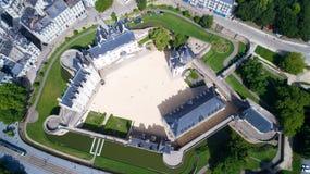 Fotografia aerea del castello della città di Nantes Immagine Stock Libera da Diritti