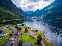 Fotografia aerea del fiordo di Geiranger, Norvegia Fotografie Stock