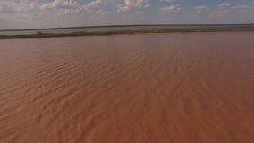 Fotografia aerea del lago di sale rosa Sivash archivi video