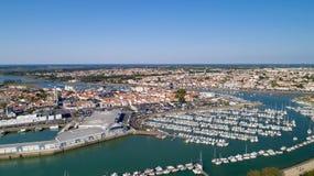 Fotografia aerea del san Gilles Croix de Vie in Vendee immagini stock