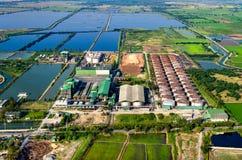 Fotografia aerea di agricoltura e di azienda agricola Immagini Stock