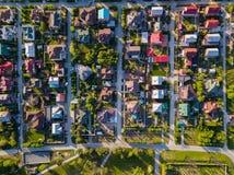 Fotografia aerea di un villaggio del cottage Immagine Stock Libera da Diritti