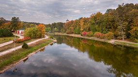 Fotografia aerea nel parco in autunno Fotografia Stock Libera da Diritti
