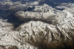 Fotografia aerea sopra le alpi Immagini Stock