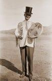 Fotografia antiga de um homem no chapéu superior imagens de stock