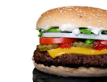 Fotografia bbq cheeseburger z Kofte kebabu mięsem Zdjęcie Stock