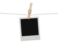 Fotografia in bianco sulla corda da bucato Immagini Stock Libere da Diritti