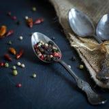 Fotografia d'annata dell'alimento e delle spezie di stile Fotografia Stock Libera da Diritti