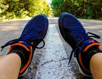 Fotografia da estrada da sapata da floresta Imagens de Stock Royalty Free