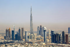 Fotografia da opinião aérea de Dubai Burj Khalifa Downtown Fotografia de Stock Royalty Free