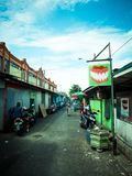 Fotografia da rua da cidade de Balikpapan, Bornéu, Indonésia Imagens de Stock Royalty Free
