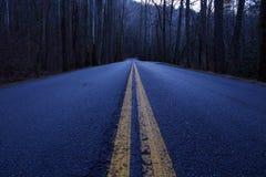 Fotografia da rua da perspectiva de uma estrada vazia longa nas madeiras no parque nacional das montanhas fumarentos imagens de stock royalty free