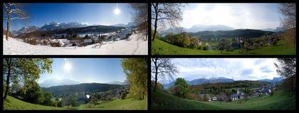 Fotografia das quatro estações da aldeia da montanha Fotos de Stock Royalty Free