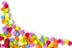 Fotografia de corações de matéria têxtil, arranjada como um quadro com termas da cópia Fotografia de Stock