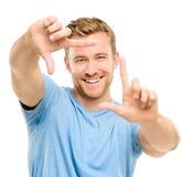 Fotografia de quadro do homem feliz Fotos de Stock