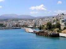 Fotografia dell'aria, città di Sitia, Grecia Fotografie Stock Libere da Diritti