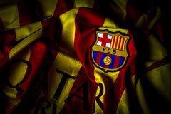Fotografia della cresta del distintivo del Jersey del FC Barcelona fotografie stock libere da diritti
