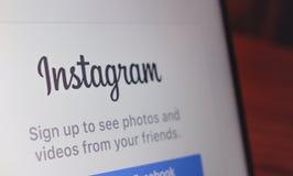 Fotografia della pagina di atterraggio di Instagram Immagine Stock Libera da Diritti