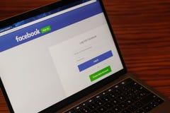 Fotografia della pagina Web di connessione di Facebook Fotografia Stock Libera da Diritti