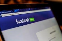 Fotografia della pagina Web di connessione di Facebook Fotografia Stock