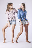 Fotografia dello studio delle donne dei modelli di modo due bella Immagine Stock
