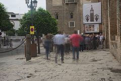 Fotografia di azione nel centro di Siviglia 1 Immagine Stock Libera da Diritti