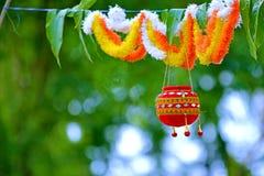 Fotografia do dahi HANDI no festival do gokulashtami em india, que é dia do nascimento do ` s de Lord Shri Krishna foto de stock