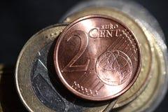 Fotografia do macro de duas moedas dos euro- centavos Fotografia de Stock Royalty Free