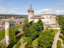 Fotografia do zangão do castelo medieval Munot, Suíça Foto de Stock Royalty Free