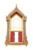Pagina di arte antica tailandese della finestra Fotografia Stock Libera da Diritti