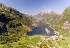 Fotografia Geiranger fjord teren, Norwegia Widok z lotu ptaka przy lato czasem Zdjęcie Royalty Free