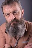 Fotografia gniewny gderliwy stary człowiek patrzeje bardzo nierady Męski mężczyzna z długą brodą na jego twarzy blisko twarz zdjęcia royalty free