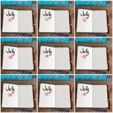 Fotografia kolaż dni 10th 18th miesiąc Lipiec ręcznie pisany na notatniku Obraz Royalty Free