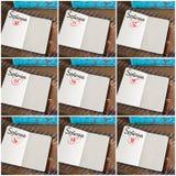 Fotografia kolaż dni 10th 18th miesiąc Wrzesień ręcznie pisany na notatniku Fotografia Royalty Free