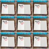 Fotografia kolaż dni 10th 18th miesiąca Sierpniowy ręcznie pisany na notatniku Zdjęcia Stock