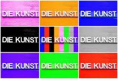 Fotografia kolaż kostka do gry KUNST z różnymi kolorami ilustracja wektor
