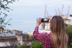 Fotografia która zrobił fotografii port morski kobieta Obrazy Stock