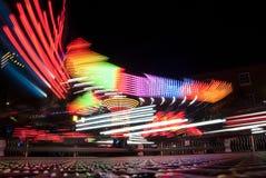 Fotografia longa da exposição Luzes do carrossel e movimentos, Reino Unido fotografia de stock