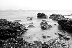 Fotografia lunga di esposizione di vista sul mare Fotografie Stock Libere da Diritti