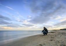 Fotografia lunga di esposizione sulla spiaggia Fotografie Stock Libere da Diritti