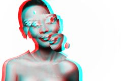 Fotografia młoda dziewczyna model z Afrykańskim spojrzeniem Obraz Stock
