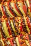 Fotografia macro do ratatouille - refeição do vegetariano feita dos vegetais cortados frescos para o alimento saudável e o concei imagem de stock royalty free
