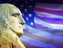 Fotografia montaż: George Washington i flaga amerykańska Zdjęcia Royalty Free