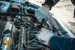 Fotografia naprawa silnik zdjęcie stock