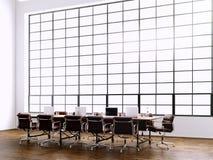Fotografia nowożytny pokój konferencyjny z panoramicznymi okno Generics komputery i rodzajowy projekta meble w rówieśniku ilustracja wektor