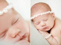 Fotografia nowonarodzony dziecko fryzował up spać na koc Zdjęcie Royalty Free