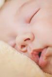 Fotografia nowonarodzony dziecko fryzował up spać na koc Obraz Stock