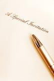 Writing zaproszenia specjalna karta obrazy royalty free