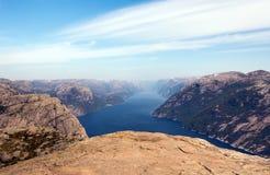 Fotografia Preikestolen, ambony skała przy Lysefjord w Norwegia widok z lotu ptaka Obrazy Stock