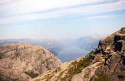 Fotografia Preikestolen, ambony skała przy Lysefjord w Norwegia widok z lotu ptaka Zdjęcie Royalty Free